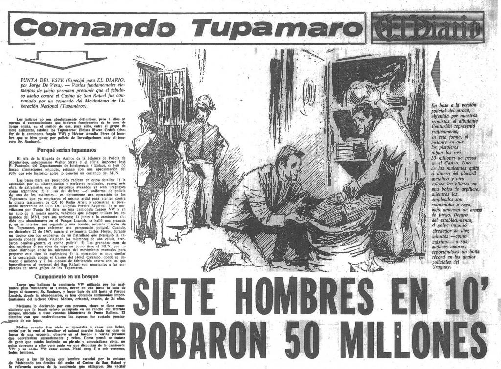 H εφημερίδα «El Diario» αναρωτιέται πώς 7 μέλη των Τουπαμάρος λήστεψαν 50 εκ.μέσα σε 10 λεπτά
